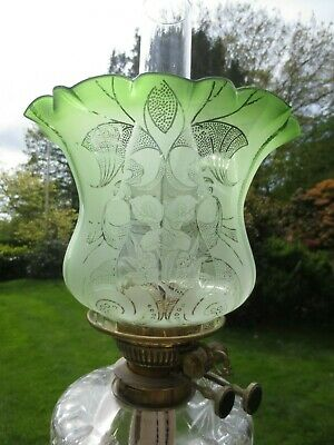Superb Antique Victorian Veritas  Green Acid Etched Tulip Duplex Oil Lamp Shade