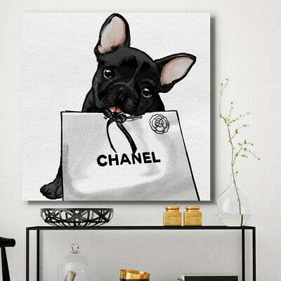 Dog Chanel Paris Paint Abstract Wall Art Print Stretched Canvas Prints Glamour