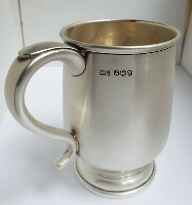 Superb Condition Large Heavy English Antique 1969 Sterling Silver Pint Tankard