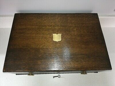 Vintage 1930s Dark wood writing box with key good condition for age