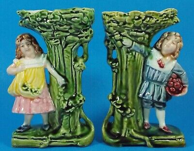 """Pair of Small Antique Continental Majolica Vases Sweet Girl & Boy  6"""""""
