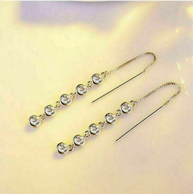 Fashion Dangle Tassel Earrings 925 Long Jewelry Women Silver