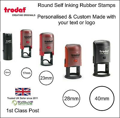 Personalised Rubber Stamp Self Inking Round Custom Made Rubber Stamps Free Post!