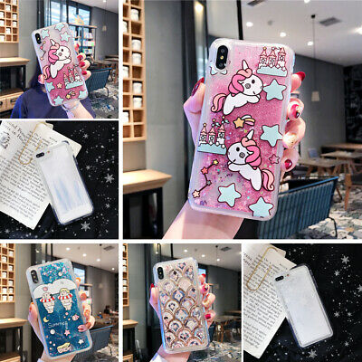 For iPhone XS Max XR 8 7 6s Plus Unicorn Quicksand Soft Silicone TPU Case Cover
