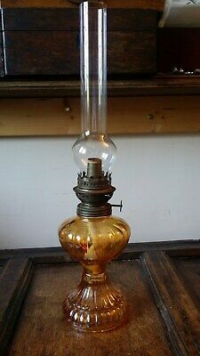 Antique Vintage Art Deco French Oil Paraffin Lamp - Amber Yellow Glass - Gwo