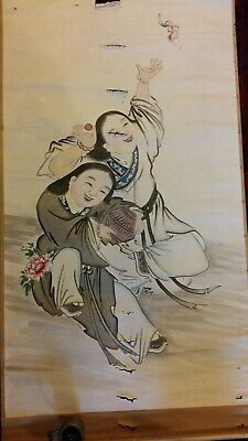 Large Fine Antique Chinese Scroll Painting - Two Happy Girls & Bird