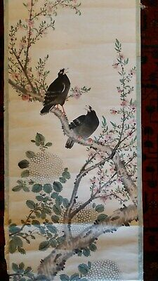 Large Fine Antique Chinese Scroll Painting - Two Song Birds In Tree