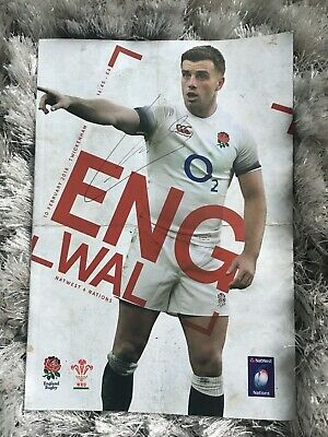 Signed England rugby shirt, programme and ticket Six Nations 10 February 2018