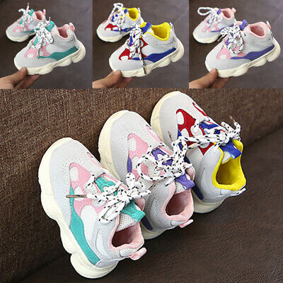 Toddler Infant Kids Baby Girl Boy Stitching Color Sneakers Running Sport Shoes U