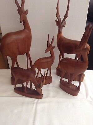 Vintage Retro Wooden Teak Carved Stag Deer Antelope African Animal Set Figurines