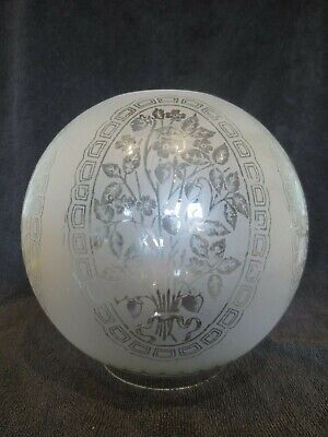 Superb Original Antique Victorian Veritas Acid Etched  Duplex Oil Lamp Shade