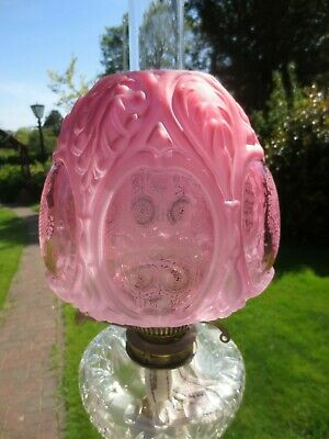 Superb Victorian Cranberry Glass Beehive Acid  Etched Duplex Oil Lamp Shade