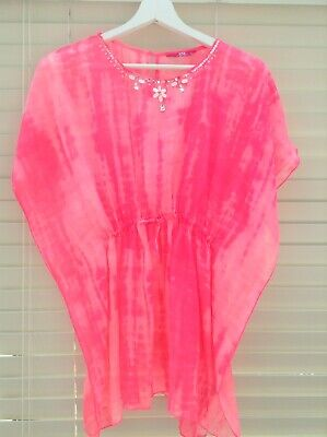 Girls Gorgeous Beach Cover Up Bright Pink Colour Age 12-13 Fab