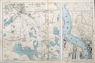 LONDON - BROMLEY, HAYES, WOOLWICH, - ORIGINAL ANTIQUE STREET MAP - Bacon, 1895