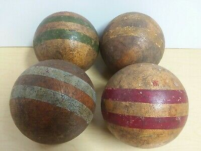 4 Antique Vintage Weathered Croquet Balls Solid Wood Smooth  Primitive Stripes