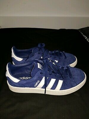 95720409e90f adidas Campus Trainers in Dark Blue & White suede - navy retro 3 stripes  SALE