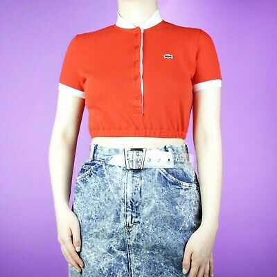 d69e7c208a6 VINTAGE Lacoste Red White Rework 90s Crop Designer Polo Sports Shirt Top XS  6 8