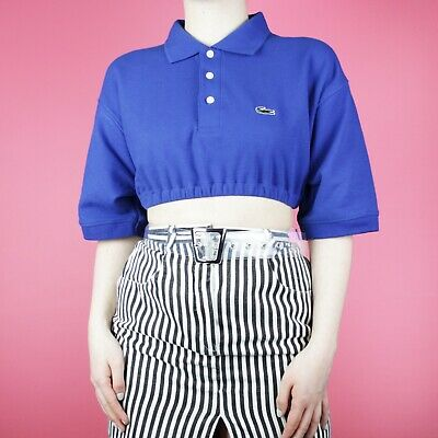 f431949151c VINTAGE Reworked Blue Lacoste Crop Designer Sports Polo Shirt Top M L 14 16  18