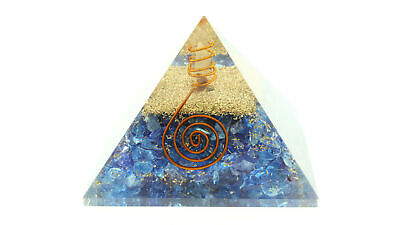 "Sapphire Orgone Pyramid 70mm LG 2.75"" EMF Protection Orgonite Crystal Healing"