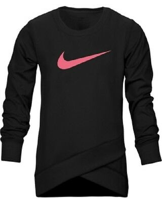 NWT Nike Girls Youth Dri-FIT Crossover Tunic LS Shirt Black Pink Size 4 $38