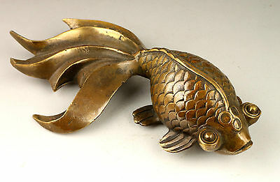 Collectable Handwork Decoration Old Copper Lovely Goldfish Statue
