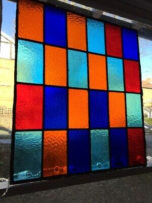Superb Leaded Stained Glass Panels X 3 Red Blue Orange