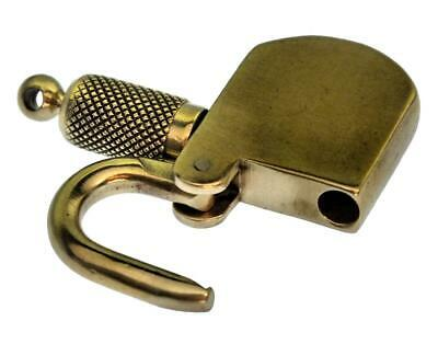 "Antique Padlock with SIDE SCREW KEY 1⅜"" Brass - Unusual - P496"