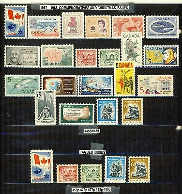 1967-1968 #453/#489p 3¢ -15¢ COMMEMORATIVES & CHRISTMAS ISSUES + TAGGED VFNH