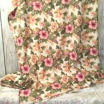 "PINK FLORAL TROPICAL BARKCLOTH TABLECLOTH + 6 NAPKINS 80 x 53"" 2 yd fabric tiki"