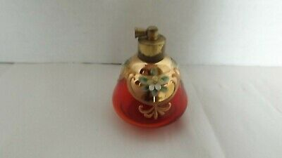 Antique Victorian Art Glass Perfume Bottle Cranberry Color With Enameled Flowers