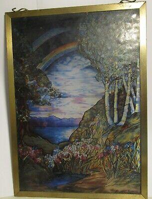 "Glassmasters Stained Glass Rainbow LOUIS C TIFFANY - Brass Frame - 13"" x 9-1/4"""