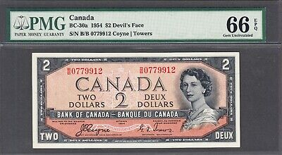 1954 Bank of Canada - $2.00 Devil Face PMG Gem Unc 66 EPQ Note - Coyne Towers