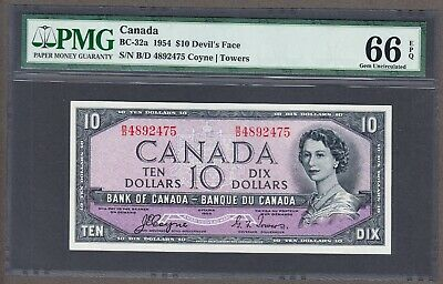 1954 Bank of Canada - $10.00 Devil Face PMG Gem Unc 66 EPQ Note - Coyne Towers