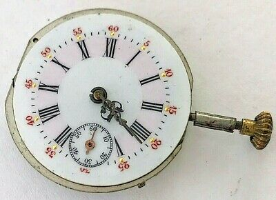 0s - Antique 19th century European fancy hand painted pocket watch movement