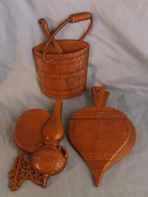 3 Vintage Sexton Metal Wall Art Home & Hearth 1966 Bellows,  Bucket & Oil Lamp