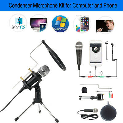 3.5mm Audio Condenser Microphone Recording KTV Mic w/ Stand For Smart Phone PC