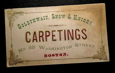 Victorian  trade card advertising Goldthwait Snow & Knight Carpetings