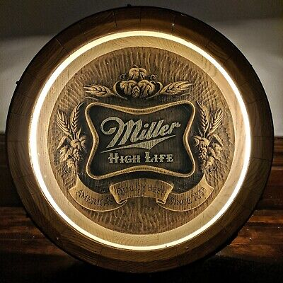 Vintage Miller High Life Beer Lighted Faux Barrel Sign Bar Pub Man Cave 1984