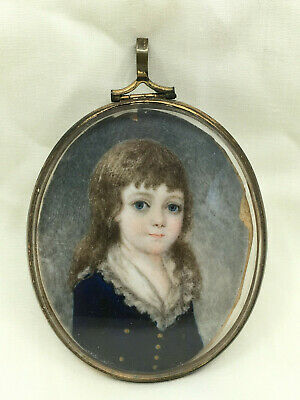 Antique Early 19th Century Superb Painted Miniature Portrait Of Young Girl Fine