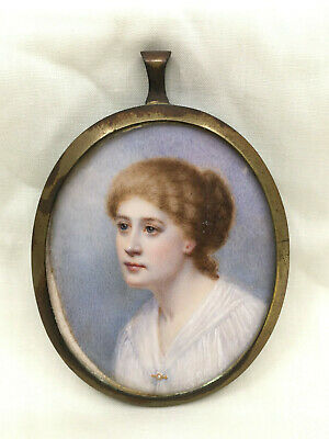 Fine Antique Early 19th Century Painted Miniature Portrait Of A Girl Young Lady