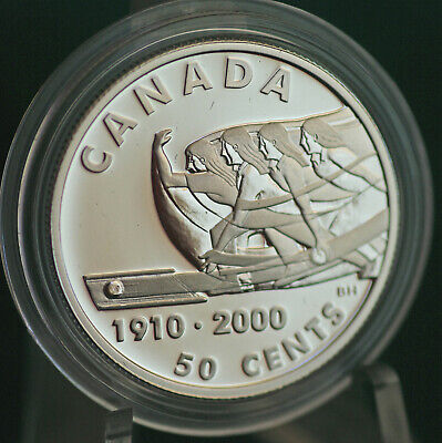 2000 Canada 50 cent 5 pin bowling sterling silver coin - original metal case