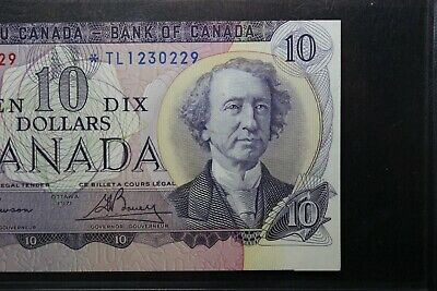 1971 Canada $10 Replacement *STAR* TL Error Cut Out Of Register Show Next Note