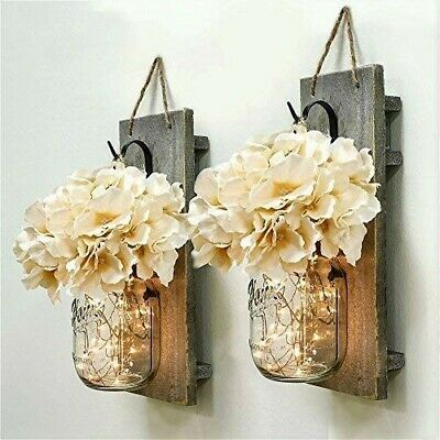 Mason Jar Sconce Wall Decor Rustic Hanging LED Fairy Lights Farmhouse Home NEW