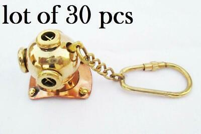 Brass Divers Helmet Keychain Nautical Diving Keyring Gifts Items 30 pcs