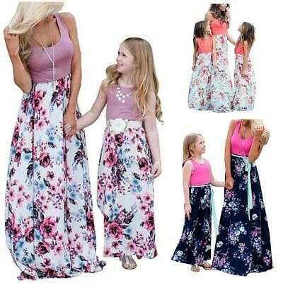2019 Women Girls Mother and Daughter Floral Beach Dress Family Matching Outfits
