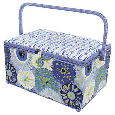 Extra Large Rectangle Sewing Basket | Purple Floral | 38 x 21.5 x 25cm | 010915
