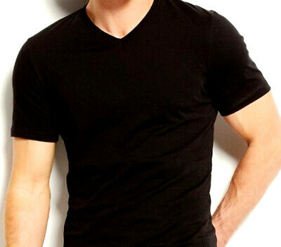 Men's V Neck Tops T-Shirt Slim Fit Short Sleeve Solid Color Casual T-Shirt Black