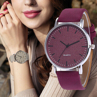 Fashion Leather Ladies Women Girl Unisex Stainless Steel Quartz Wrist Watch NEW