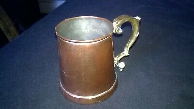VINTAGE COPPER TANKARD WITH ORNATE BRASS HANDLE. APPROX. 4 ins.TALL. STURDY