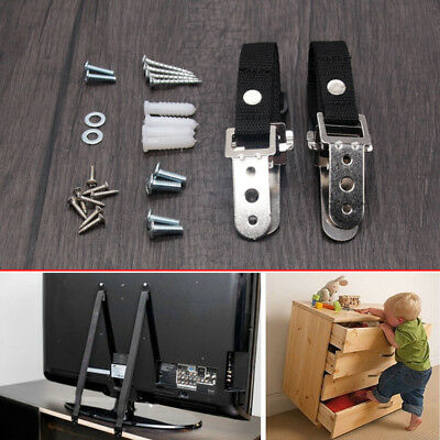 Anti Tip Safety Straps Flat Screen TV Fix Anchor Baby Child Secure Proofing NEW